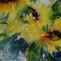 Mischtechnik auf Leinwand<br />Sonnenblumen50x70Fr. 750