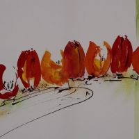 Mischtechnik auf Leinwand<br />Tulpenband50x70Fr. 750