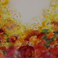 Mischtechnik auf Leinwand<br />Blumenmeer90x90Fr. 1450