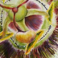 Mischtechnik auf Leinwand<br />        Passionsblume                   80x80           Fr. 1150